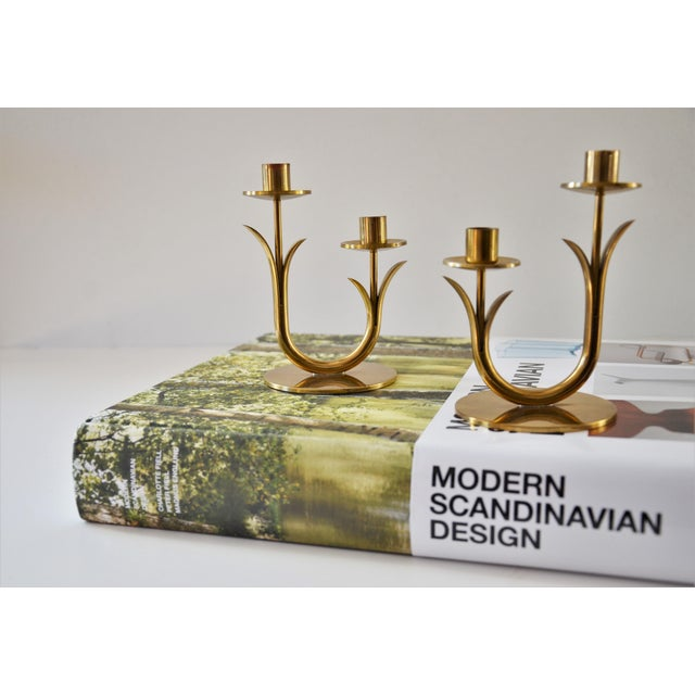 Brass Modern Brass Candle Holders by Gunnar Ander for Ystad Metall-a Pair For Sale - Image 8 of 10