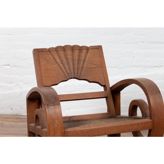 Teak Wood Country Chairs From Madura With Rattan Seats and Looping Arms - a Pair For Sale - Image 12 of 13