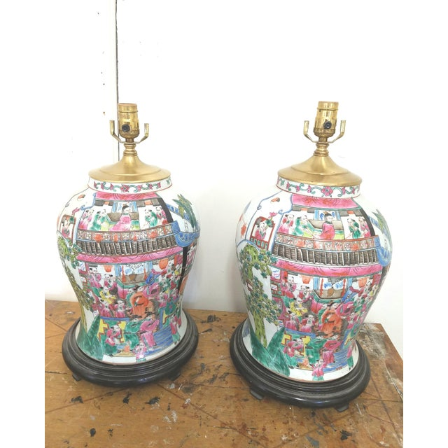 Wood Large Chinese Hand Painted Porcelain Temple Jars Mounted Table Lamps - a Pair For Sale - Image 7 of 7