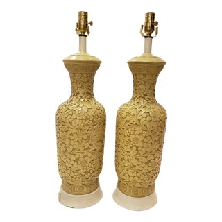1960s Yellow Plaster Blanc De Chine Table Lamps For Sale