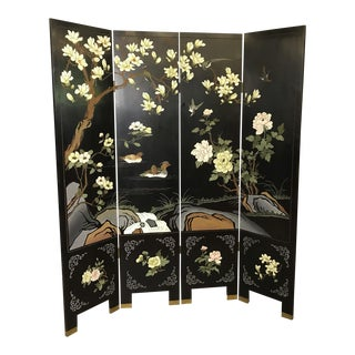 Late 20th Century Chinese Export Four Panel Coromandel Screen For Sale
