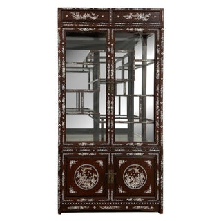 Vintage Chinese Mother of Pearl Inlay Rosewood Display/Curio Cabinet For Sale