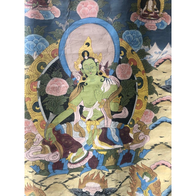 Indian Vintage Buddhist Tibetan Thangka Hand Painted For Sale - Image 3 of 8