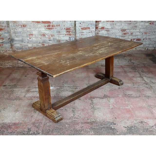 """19th century Farmhouse Trestle Dining Oak table size 60 x 34 x 26"""" A beautiful piece that will add to your décor!"""