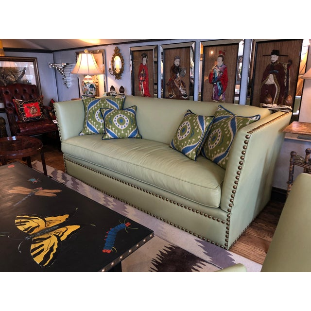 Contemporary Vintage Lime Leather George Smith Knole Style Sofa For Sale - Image 3 of 11