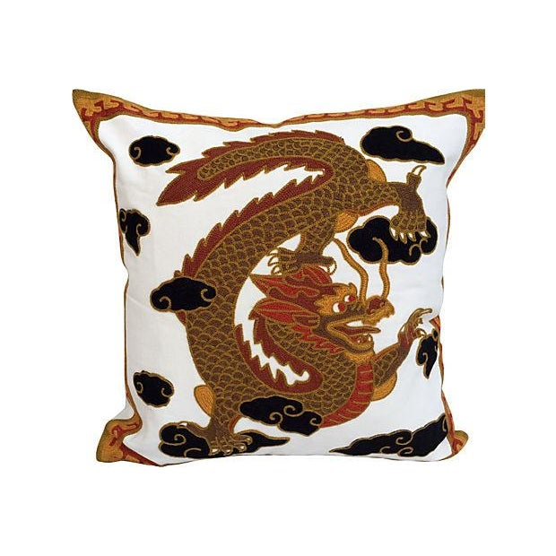 Gold Dragon Embroidred Pillows - Pair - Image 4 of 4