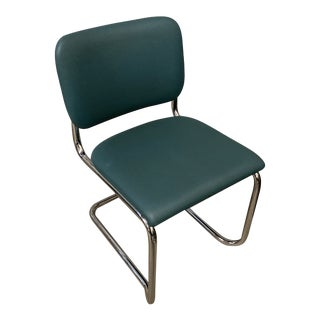 Blue Thonet Cantilevered Chrome Chair With Tag For Sale