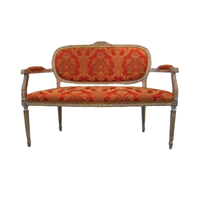 Louis XIV Scalamandre Upholstered Louis XVI Settee For Sale - Image 3 of 6