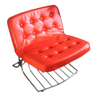 Cantilevered Chrome Tufted Orange Lounge Chair For Sale