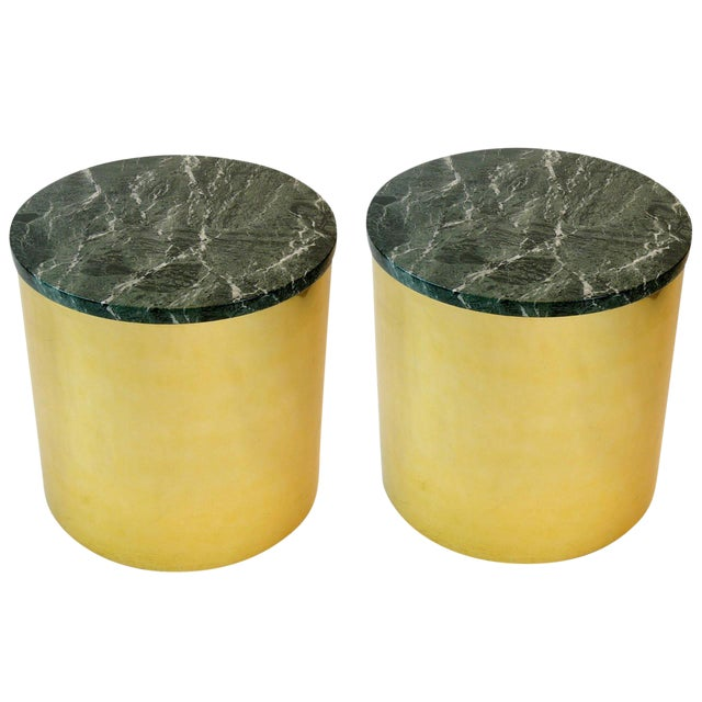 Pair of Paul Mayen Cylindric Brass and Green Marble End Tables For Sale