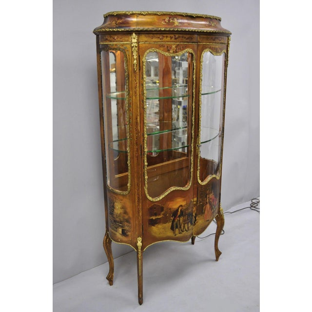 Antique french Louis XV style hand painted Vernis Martin vitrine china cabinet. Item features 4 curved glass panels,...