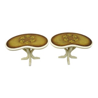 Vintage Hollywood Regency French Kidney Bean Shaped Side Tables Gold Glass Top - A Pair For Sale