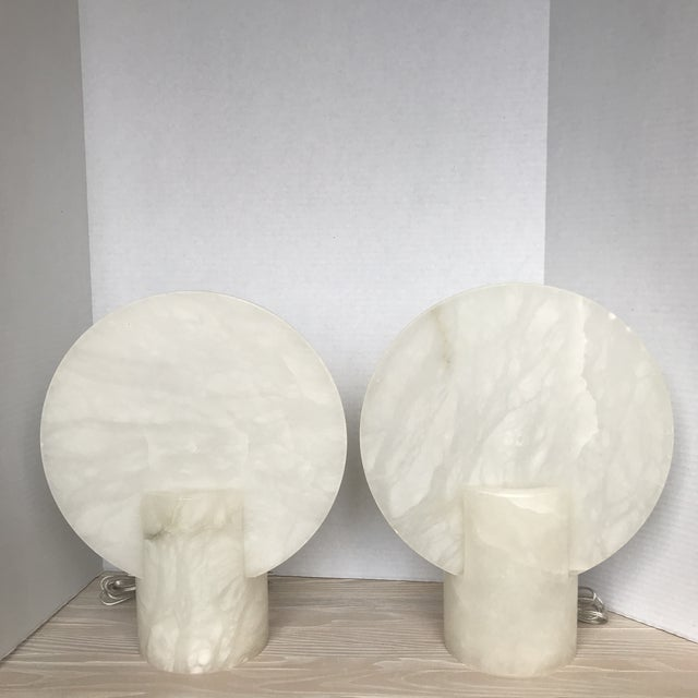 Modern Alabaster Table Lamps Sconces - a Pair - Image 6 of 6