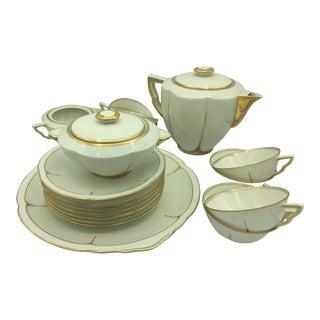 Limoges France, Art Et Lumière Tunis Porcelain Tea Pot, Plates and Dish - 18 Piece Set For Sale