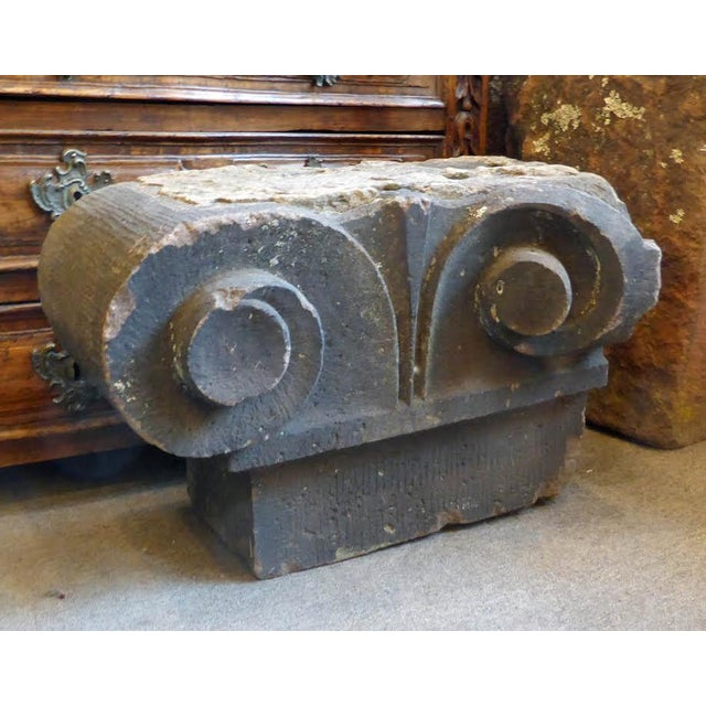 Wonderful carved Brownstone Capital, 19th century with very nice color and patina. Was being used in a garden as a side...