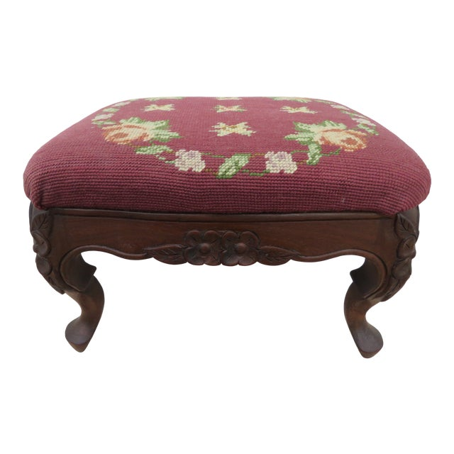 French Carved Needlepoint Tapestry Small Ottoman Footstool Bench For Sale