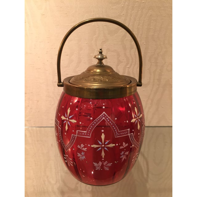 19th Century Biscuit Barrel Hand Enameled Cranberry Glass W/ Brass Lid & Handle For Sale - Image 9 of 11
