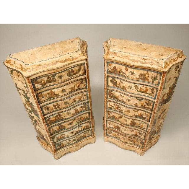 Wonderful pair of original antique Italian painted semainiers (7 drawer chests) with serpentine fronts, sides and aprons....