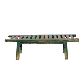 Oriental Distressed Teal Blue Multi-Color Long Wood Bench Stool For Sale