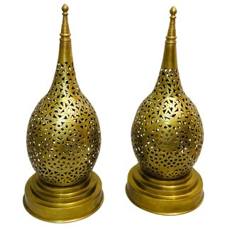 Handmade Tear Shaped Gold Brass Table Lamps - a Pair For Sale