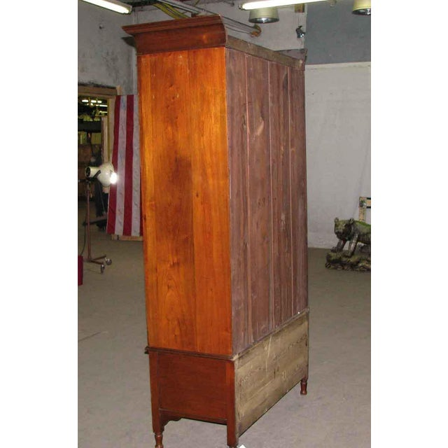 Mid 19th Century Early American Carved Cherry Armoire With Beveled Mirror For Sale - Image 5 of 10