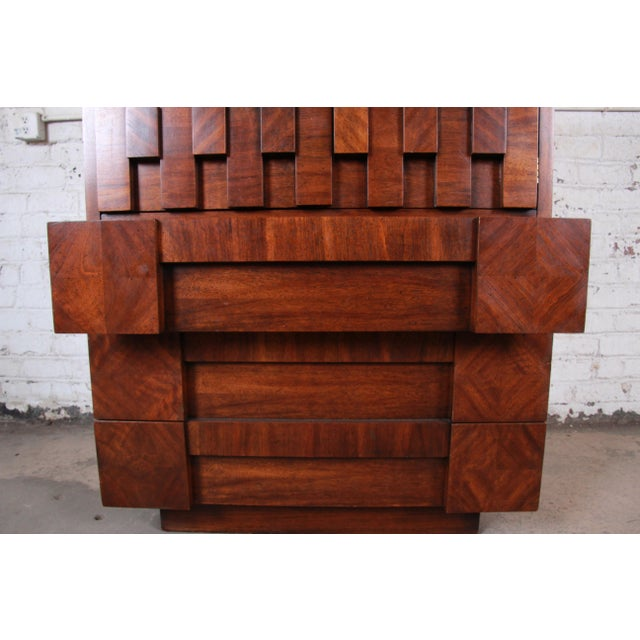 Wood Paul Evans Style Mid-Century Modern Brutalist Walnut Armoire Dresser by Lane For Sale - Image 7 of 13