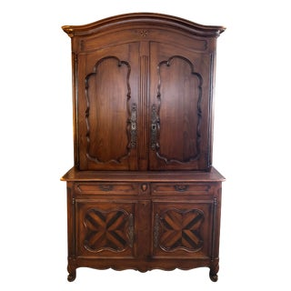 French Provincial Walnut Buffet-A-Deux-Corps/Cabinet For Sale