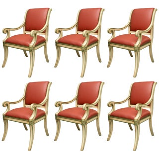 Regency Style Painted Dining Chairs - Set of 6 For Sale