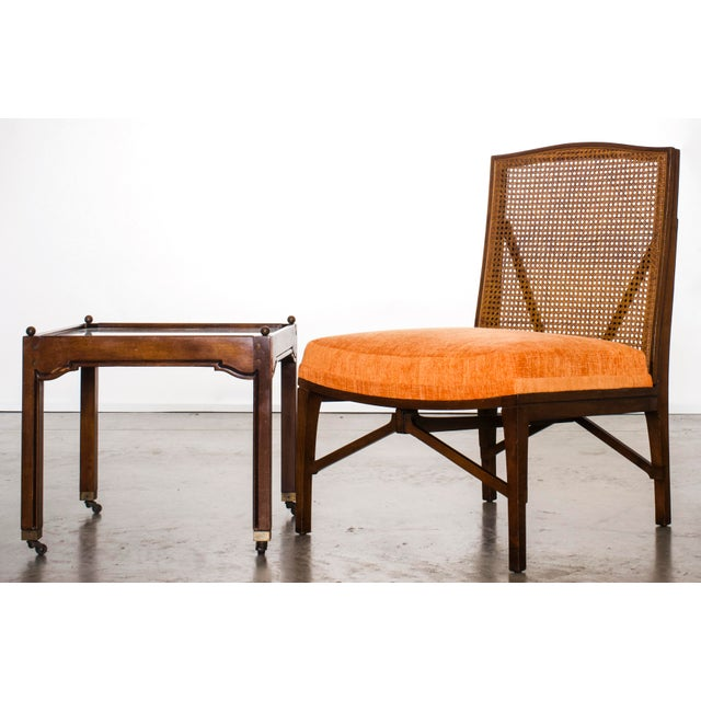 """1940s Antique """"American of Chicago"""" Mid-Century Modern Walnut & Cane Accent Chair With Side Table For Sale - Image 13 of 13"""