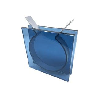 Minimalist Smokey Blue Slab Glass and Aluminum Sculptural Vase For Sale