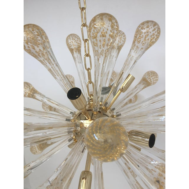 2010s Murano Glass Gold and Transparent Sputnik Chandelier For Sale - Image 5 of 7