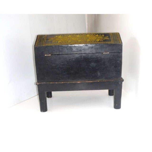 Early 20th Century Antique Ebonized Hand-Painted Mexican Wedding Trunk For Sale - Image 5 of 9