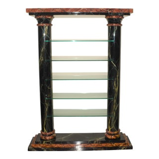 1980s Custom Faux Marble Lacquer Etagere Display Shelf For Sale