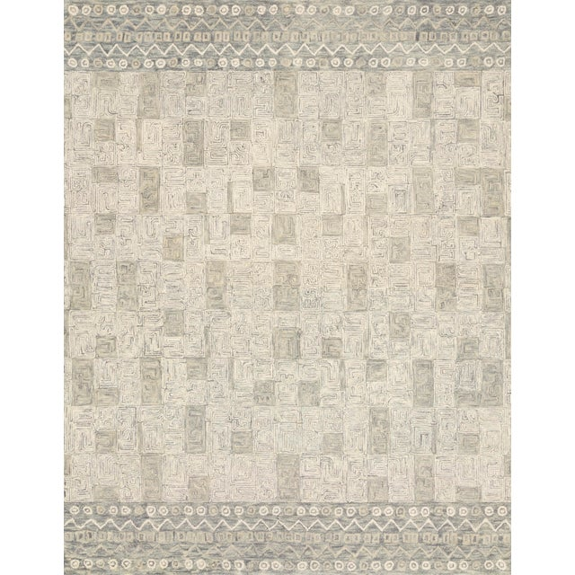 "Contemporary Loloi Rugs Priti Rug, Pewter / Natural - 1'6""x1'6"" For Sale - Image 3 of 3"