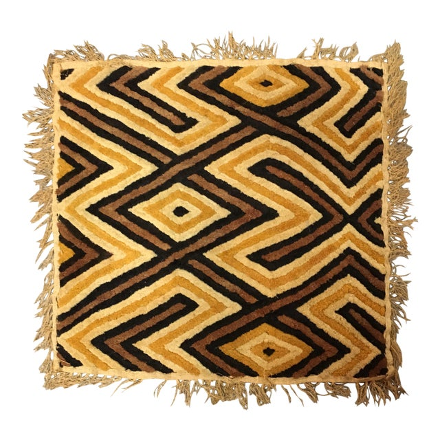 African Kuba Woven Raffia Textile Art For Sale
