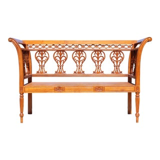 Vintage Hand-Carved Chippendale Style Bench For Sale