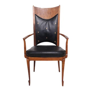 Set of 4 Walnut & Leather Mid-Century Dining Chairs For Sale