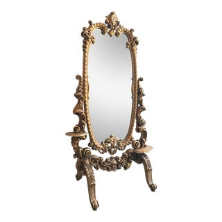 Rococo Carved and Giltwood Cheval Floor Mirror For Sale