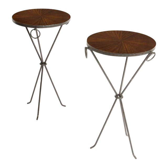 Contemporary Wrought Iron Drink Tables With Parquet Tops in the Manner of Jean-Michel Frank - a Pair For Sale