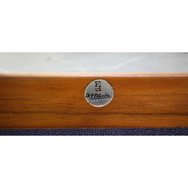 Blue Solid Danish Teak Slat-Back Sofa by Grete Jalk for France & Son For Sale - Image 8 of 9