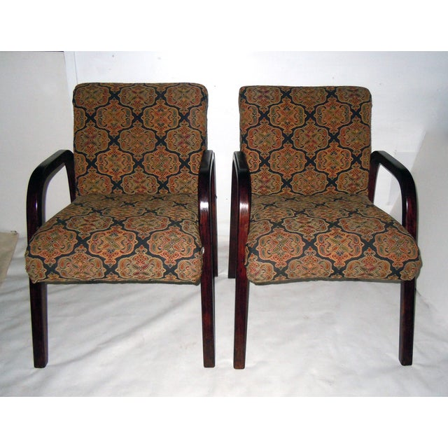 Cherry Wood Mid-Century Armchairs - A Pair - Image 2 of 7