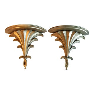 Vintage Gilt Wall Shelves - A Pair