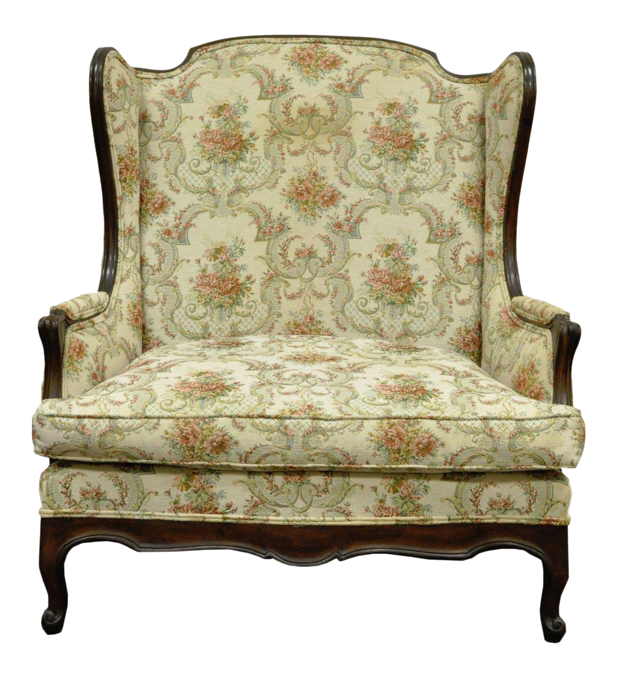 Elegant Vintage French Country Louis XV Style Wing Back Settee Love Seat Chair Wide  Seat