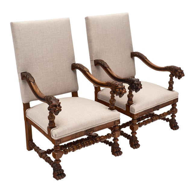 Louis XIII Style French Armchairs For Sale - Image 10 of 10