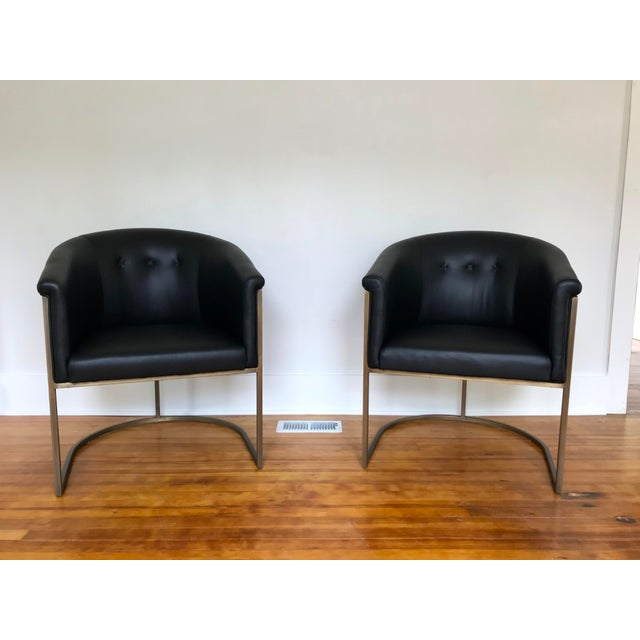 J L F Collections Black Leather Barrel Chairs - a Pair For Sale - Image 9 of 9