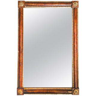 19th Century Venetian Hand Carved Veneered Partially Gilt Mirror For Sale