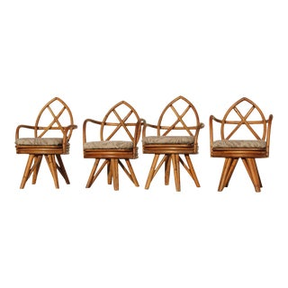 1970s Vintage Bamboo Chairs - Set of 4 For Sale