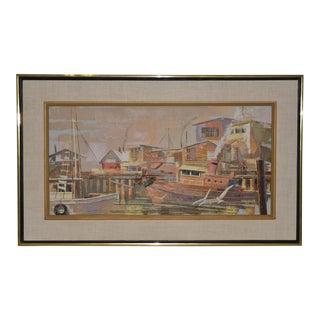 "Jack Wilson ""Harbor Bustle"" Original Palette Knife Oil Painting C.1970 For Sale"