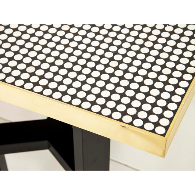 Op Art Etienne Allemeersch - Console Made of Round Bones, Resin and Brass, Circa 1970 For Sale - Image 3 of 6