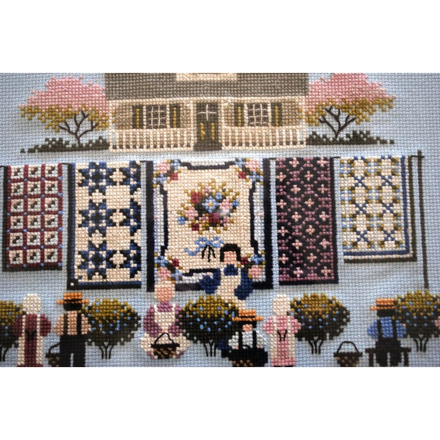 Amish Style Blueberry Homecoming Cross Stitch Textile Art For Sale - Image 6 of 8
